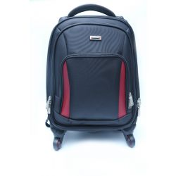 "Duslang 15"" Laptop Backpack/Trolley Bag, 4 Wheel Black/Red"