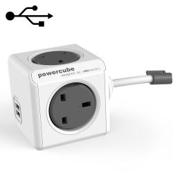 Allocacoc Powercube 1.5m Extension Cord with USB Port, Grey - 7400/UK