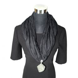 Fashion Scarf Necklace Black - A1-SN44