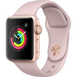 Apple Watch Series 3 38mm Smartwatch (GPS Only, Gold Aluminum Case, Pink Sand Sport Band) MQKW2