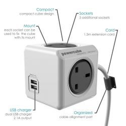 Allocaccoc PowerCube Extended with USB , UK , 3m Cable , 7404
