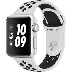 Apple Watch Nike+ Series 3 38mm Smartwatch (GPS Only, Silver Aluminum Case, Pure Platinum/Black Nike Sport Band Band) MQKX2