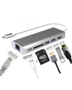 Type-C Adapter 6 in 1, Type-C 3.1 to 4K HDMI, Ethernet, SD Card, USB3.0