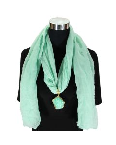 Fashion Scarf Light Green Gold  A1-SN47