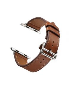 Folding Buckle Leather Band For Apple Watch 42mm - Brown